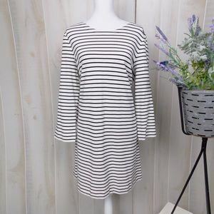 J. Crew Factory Cream & Black Striped Dress